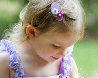 Felt hair clip -No slip -Wool felt -Double daisy -lilac