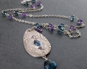 London blue topaz necklace, handmade eco friendly fine silver jewelry-OOAK Victorian teardrop necklace