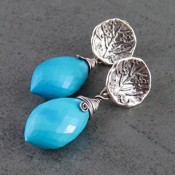 Turquoise earrings in sterling silver, handmade minimalist OOAK silver post jewelry, December birthstone earrings