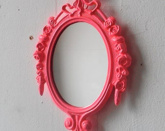 Decorative Mirror in Ornate Electric Pink Frame, Small 6 by 4 Inch Frame with Rosebud Border, Bright Pink Girls Room or Nursery Decor
