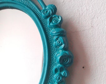 Vintage Oval Mirror in Turquoise Blue Decorative Metal Frame, Turquoise Home Decor, Perfect for Nursery, Small Gift or Wall Collage