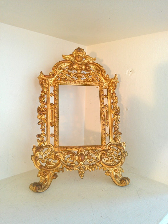 Antique Victorian Picture Frame with Cherub and Demons