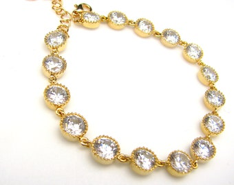 bridal wedding Clear white round cubic zirconia  gold tennis bracelet - Free US shipping