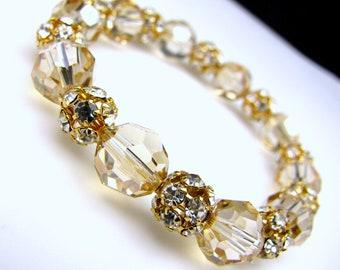wedding bridal christmas party bracelet Swarovski golden shadow round bead with gold rhinestone detailed filigree beads stretch bracelet