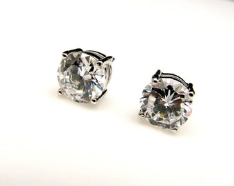 clip-ons bridesmaid prom christmas gift bridal earrings wedding jewelry round brilliant cut solitaire aaa cubic zirconia post stud 8mm cut