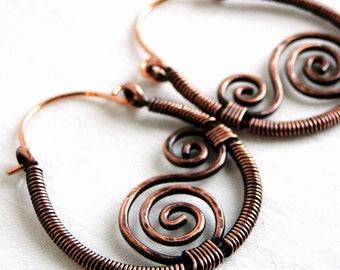 Spiral Earrings, Hoop Earrings, Wire Wrapped Jewelry, Antiqued Copper Jewelry, Swirly Earrings