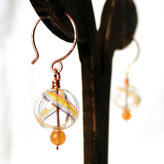 Colorful Blown Glass Earrings, Wire Wrapped Jewelry, Red Aventurine Stone Beads, Handcrafted Earrings