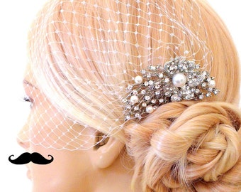 birdcage veil and a bridal comb (2 Items) -  Swarovski Pearls Comb,Wedding comb,bridal headpieces , rhinestone bridal Hair comb