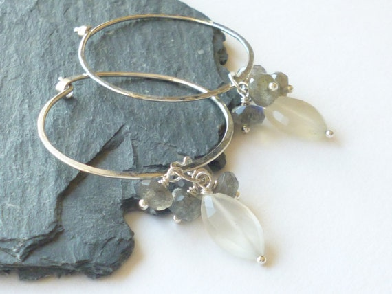 Silver hoop earrings Hancrafted hooped earrings