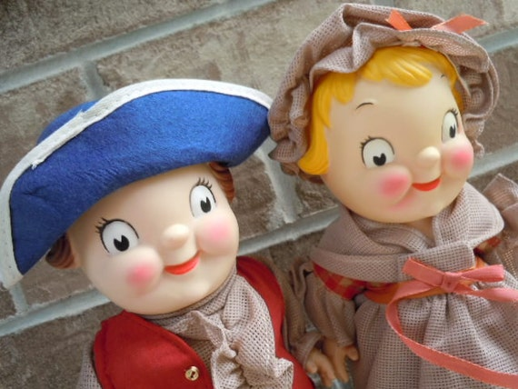 """RESERVED FOR """"Rieadamson""""  -  Vintage Dolls Campbells Soup Colonial Girl and Boy Set American Patriotic Advertising Collectibles"""
