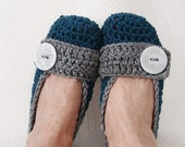 Crochet Slippers Womens Denim and Gray Flats
