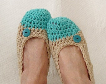 Crochet Slippers Womens Flats Turquoise