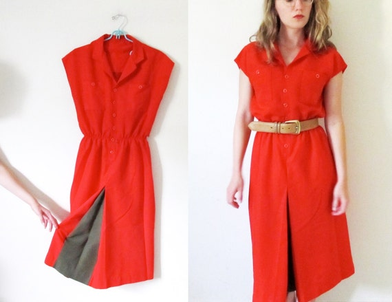 vintage 1970s Dress // Bright Cherry Red // Contrast Brown // Button Shirt // M