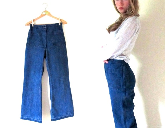 vintage 1960s Jeans // Utility Denim // Wide Leg // High Waisted Pants // M