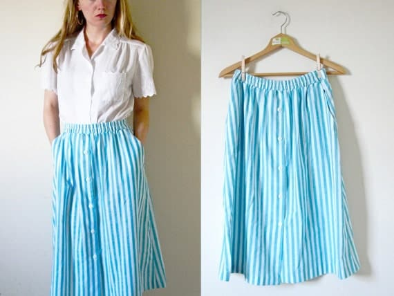 SALE // vintage 1980s Skirt // Striped // Summer // Turquoise and White // M/L