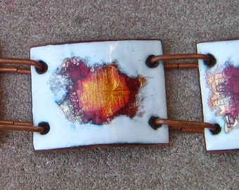 Great retro Modern Copper and Enamel Set Designer made in Brazil By H Stern