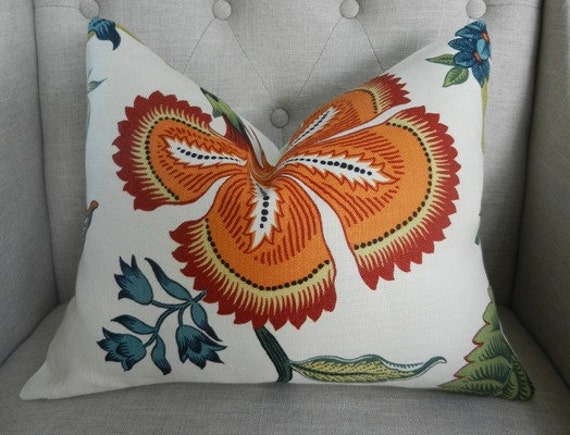 Decorative Designer Lumbar Pillow Cover - 14X18 - Celerie Kemble for Schumacher - Hot House Flowers in spark - 11X18 - Pattern on the front