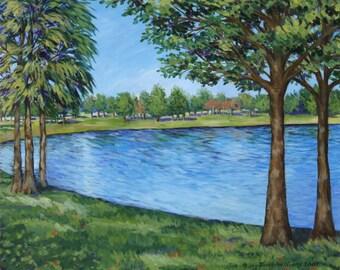 Lake Landscape Giclee Print - 11 x 14 - Clearwater Florida Impressionist Art