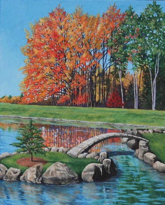 Autumn Landscape Art Print - Arboretum - 8x10 Giclee - Japanese Garden Lake