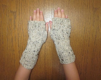 Hand Knit Fingerless Mittens/Texting Gloves - Oatmeal variegated Wrist Warmers- One Size Fits All