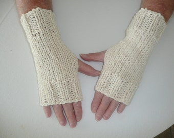 Hand Knit Fingerless Mittens/Texting Gloves- Cream Glitter Wrist Warmers- One Size Fits All