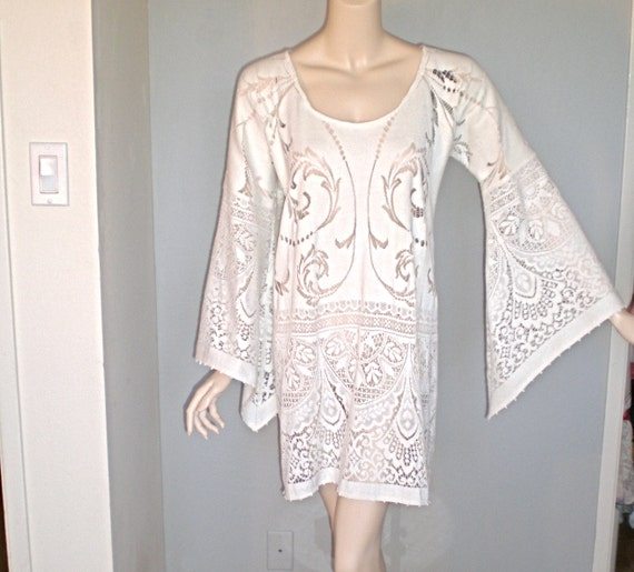 Sheer Vintage Cutwork Floral LACE DRESS Hippie Angel Sleeves ooak L