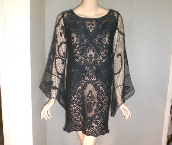 Vintage Black LACE Victorian DRESS Sheer Angel Sleeves ooak L