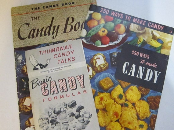SALE - 3 antique cook booklets - CANDY - circa 1940s to 1950s