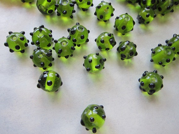 SALE - 40 glass beads - transparent GREEN with black DOTS - 10mm to 12mm