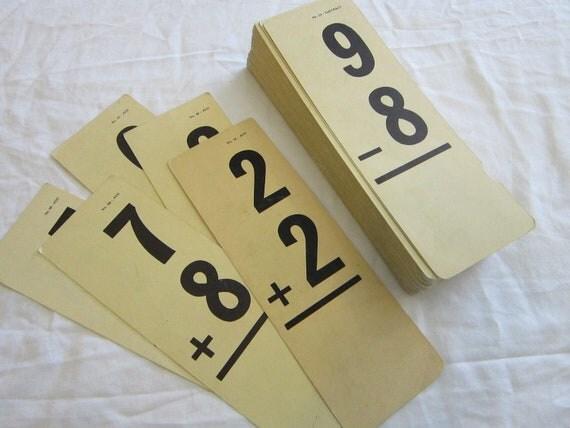 111 antique flashcards - bold font, oaktag - midcentury