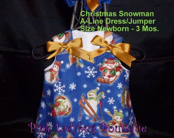 Blue Snowman Christmas Holiday A-line Dress/Jumper  with Matching Hair Bow - Size Newborn - 3 Mos. is READY TO SHIP