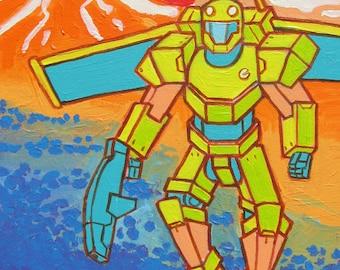 Jetpack Man Original Artwork Acrylic Painting 12 x 16