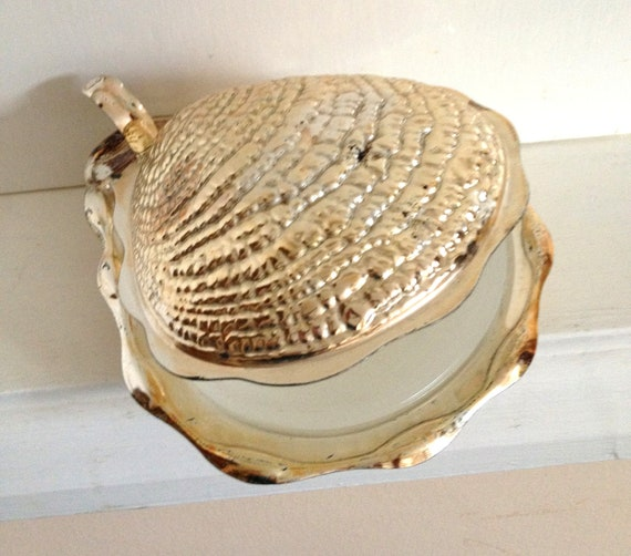 Silver Oyster shell 1950s butter dish