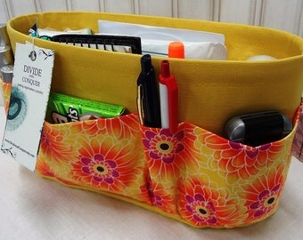 Purse ORGANIZER insert SHAPER / Yellow Floral On Yellow / STURDY / 5 SizesAvailable / Check out my shop for more colors & styles