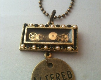 Pearl and Black Crystal with Watch Gears Altered Necklace