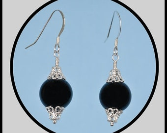 Black Onyx and Sterling Silver Filigree Dangle Earrings