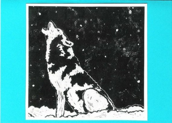 5 Wolf Notecards (Turquoise or Red)