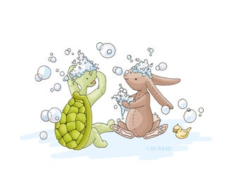 Playing with Bubbles, CHILDREN'S Art, Bunny and Turtle Print, 8x10, BUBBLES, Animals