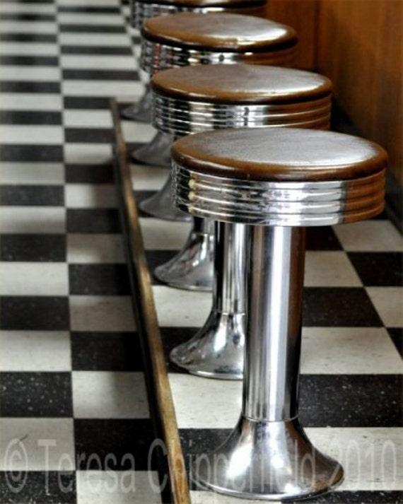 Items similar to Fine Art Vintage graphy Old Fashioned Diner Bar Stools Digital Print Bygone Days s Home Decor Wall Art