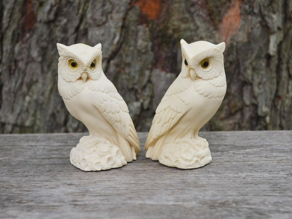 Vintage White Ivory Alabaster Owls A Giannelli By