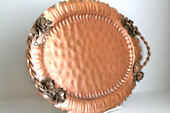 vintage signed Copper Tray // Gregorian hand-hammered // ornate roses