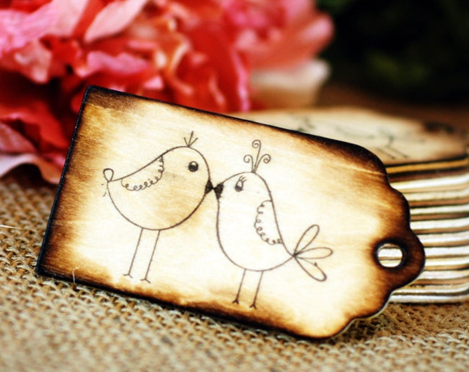 100 Wooden Wishing Tree Tags 'Love Birds' with Rustic Twig Pen