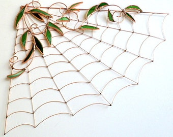 Handmade Large Copper Spiderless Spider Web Sun Catcher Perfect Gift for Entomologists and Bug Lover