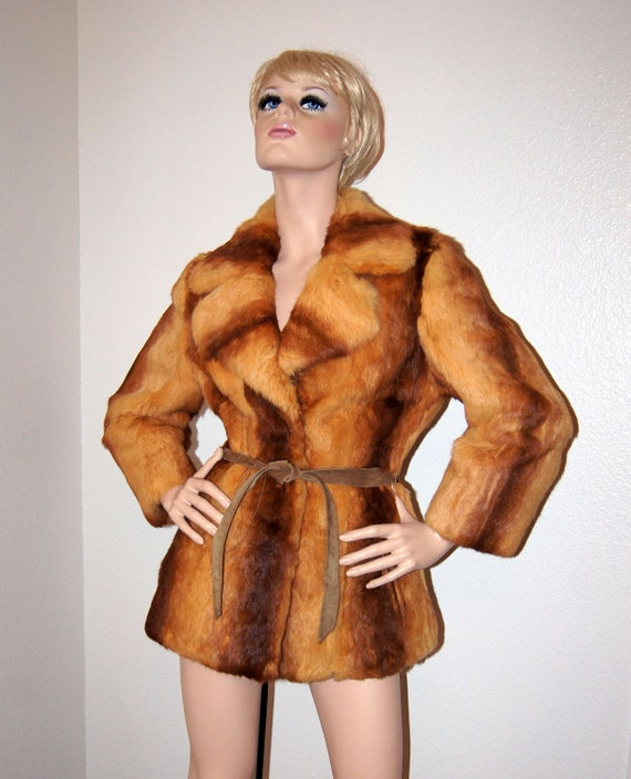 Vintage 1970s Rabbit Fur Jacket / 70s lapin coat with blended mix of colors, S