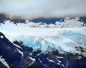 Glacier Photography, Blue Cool Hues, Nature Photo