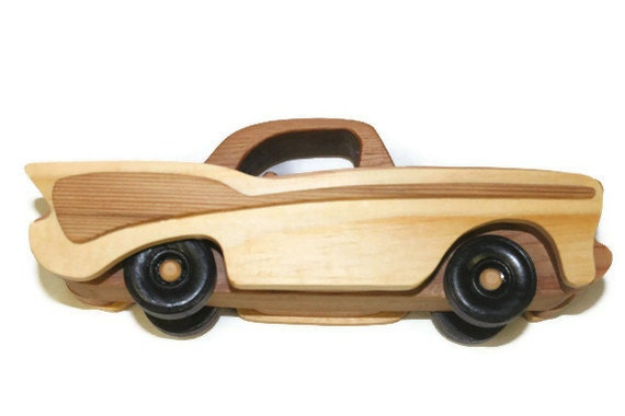 57 Chevy Wooden Toy Car Natural Finish by AndersonWoodShop on Etsy