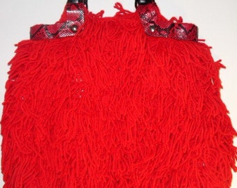 Red Crochet Handbag with Red and Black Python Snakeskin Trim