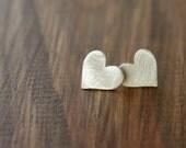 50 percent OFF Fine Silver Heart Stud Earrings shiny silver hearts / love earrings / heart earrings in matte silver handmade gifts