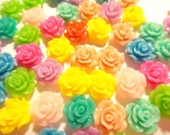 50pcs Resin Rose Flower Cabochon mixed colors 10mm (no hole)