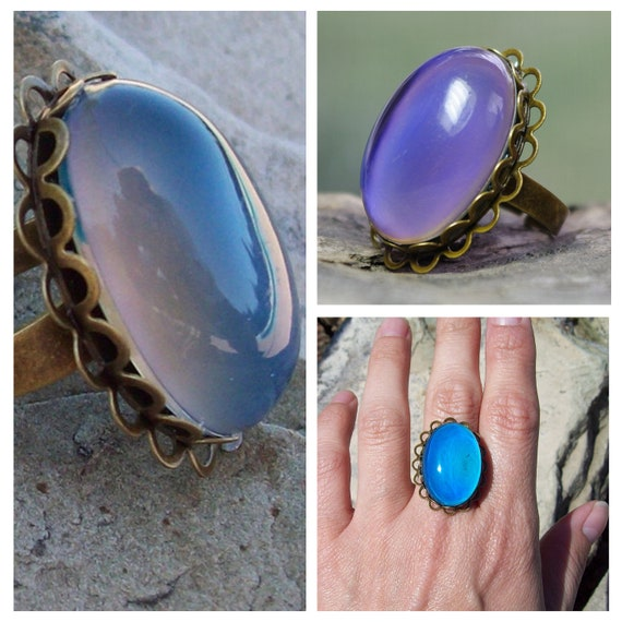 Color-Changing Mood Adjustable Bronze Lace Ring